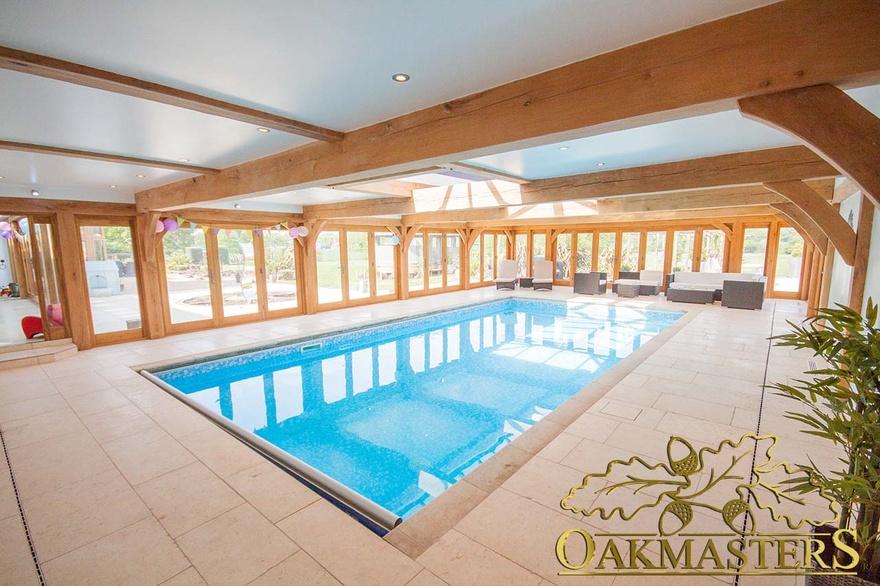 Oak Pool House With Low Profile Flat Roof Oakmasters