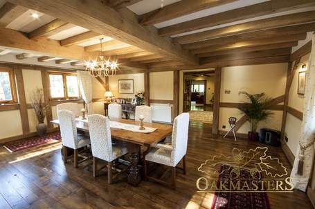 The main oak ceiling beams are of impressive proportions and really make the room.