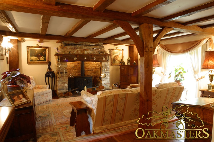 oak beam fireplace