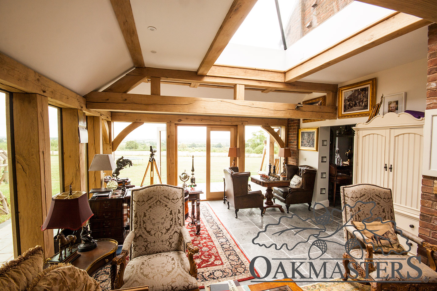 Flat top truss in an oak framed orangery